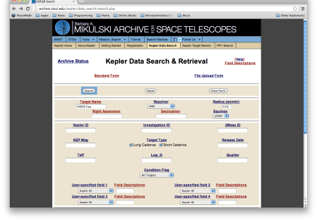 Kepler data search